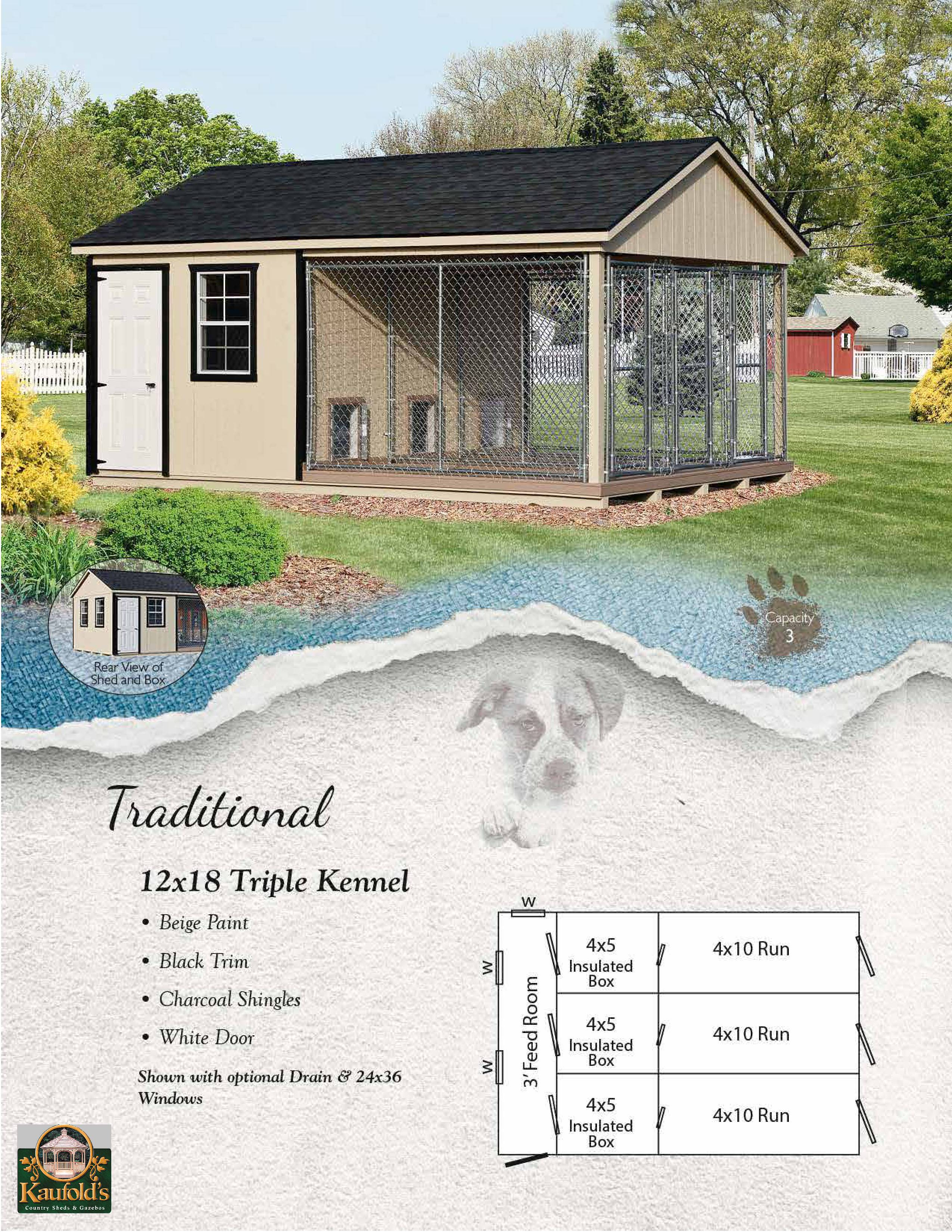 12' x 18' Traditional Triple Dog Kennel
