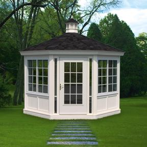 Glass Octagon Conservatory at KAUFOLDS COUNTRY SHEDS & GAZEBOS